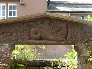 St. Bee's door lintel, dragon fight