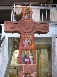 Painted cast of the Ruthwell Cross, Manchester Museum